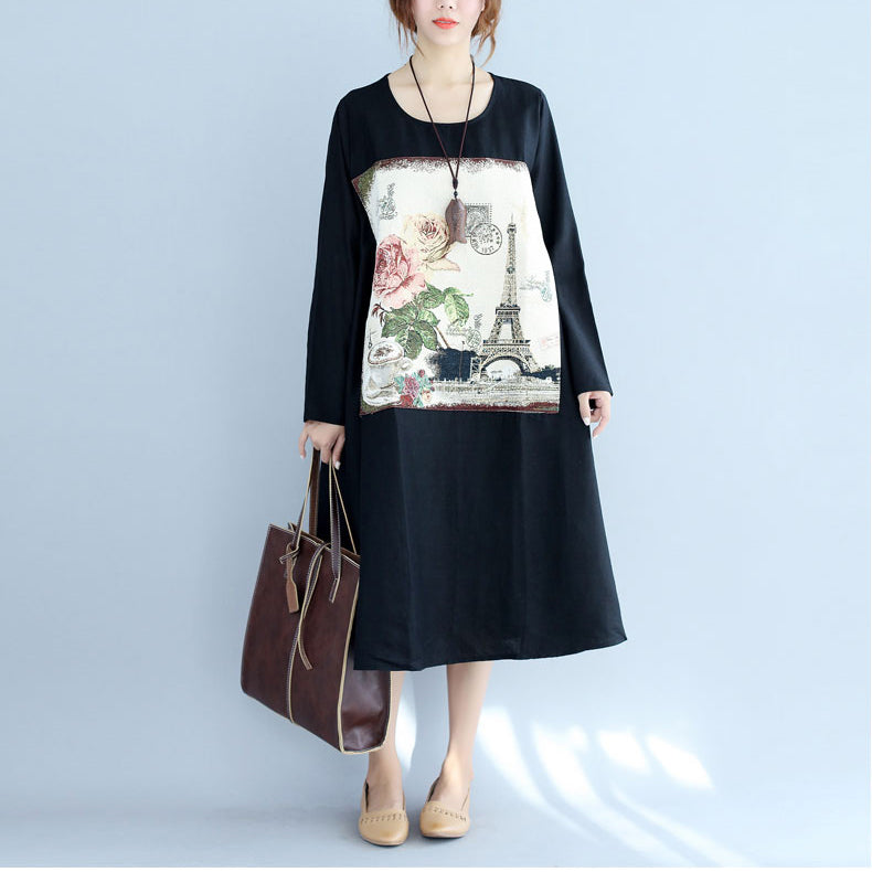 new black print cotton linen dresses plus size long sleeve maternity dress