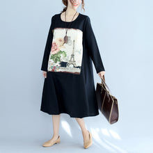 Load image into Gallery viewer, new black print cotton linen dresses plus size long sleeve maternity dress