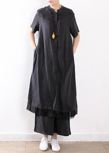 new black silk striped two pieces women long shirt with casual wide leg pants