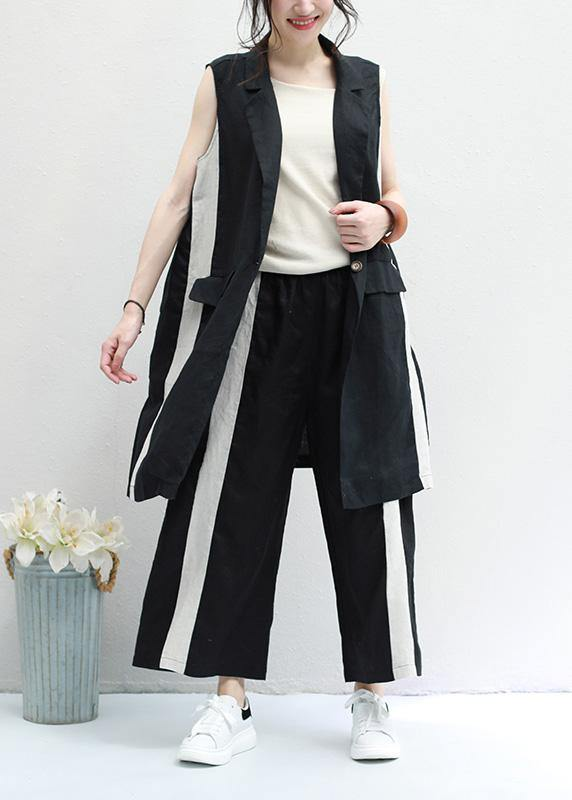 new black striped casual waistcoat and elastic waist wide leg pants