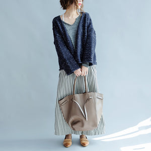 new blue asymmetric design cotton knitted cardigans chunky oversize fashion coats