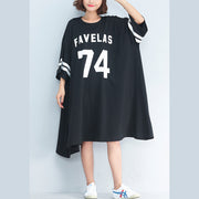 new casual black cotton dresss plus size o neck trareling dresses