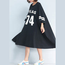 Load image into Gallery viewer, new casual black cotton dresss plus size o neck trareling dresses