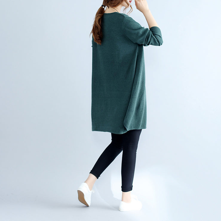 new casual green cozy cotton sweater dress oversize casual women knit dresses
