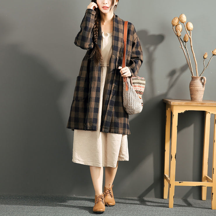 new chocolate grid cotton cardigans plus size long sleeve high waist shirt coats