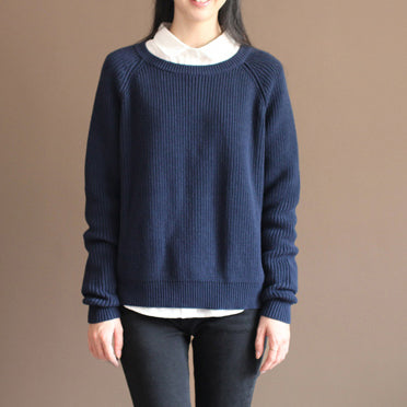 new dark blue solid color cotton knit t shirt vintage loose batwing sleeve sweater tops