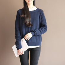 Load image into Gallery viewer, new dark blue solid color cotton knit t shirt vintage loose batwing sleeve sweater tops