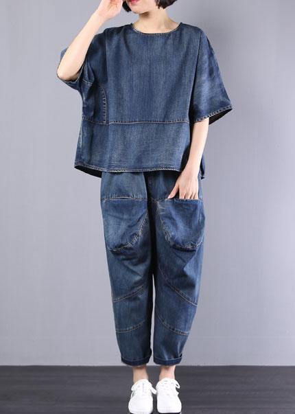 new denim blue cotton short sleeve o neck tops and big pockets pants two pieces