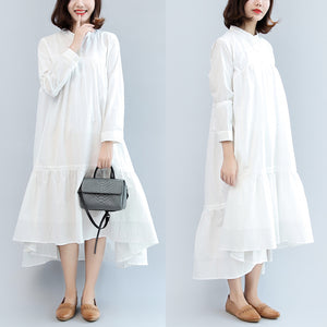 new fall white casual cotton  plus size women dress long sleeve maxi dress