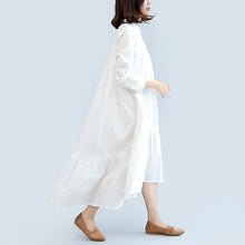Load image into Gallery viewer, new fall white casual cotton  plus size women dress long sleeve maxi dress