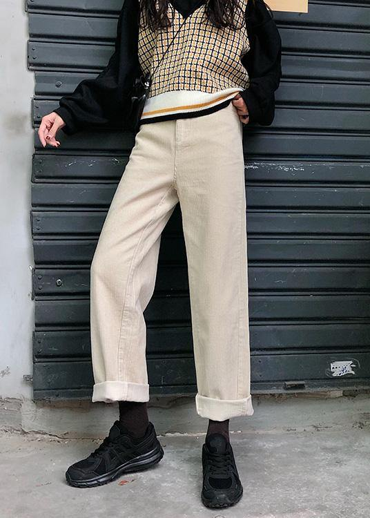 new fall women casual wide leg pants wild corduroy trousers