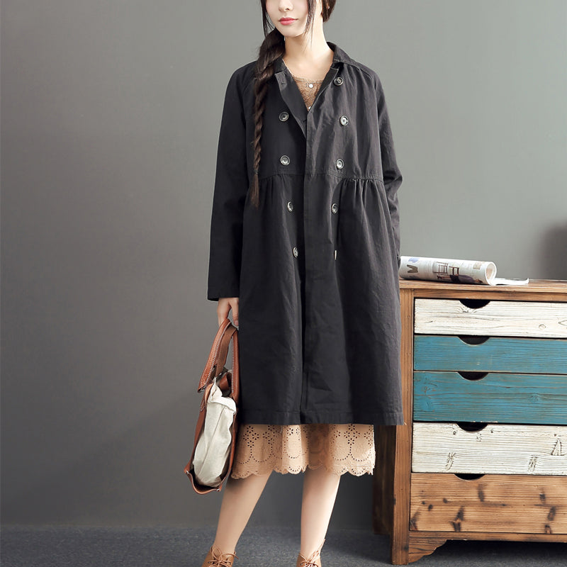 new fashion black cotton long outwear plus size high waist warm double breast trench coats