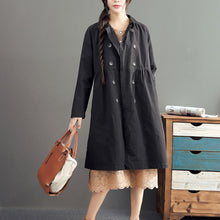 Load image into Gallery viewer, new fashion black cotton long outwear plus size high waist warm double breast trench coats