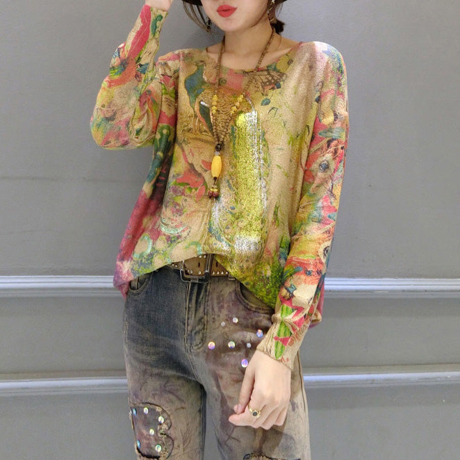 new fashion warm gold phoenix print cotton knit pullover plus size long sleeve casaul women sweater