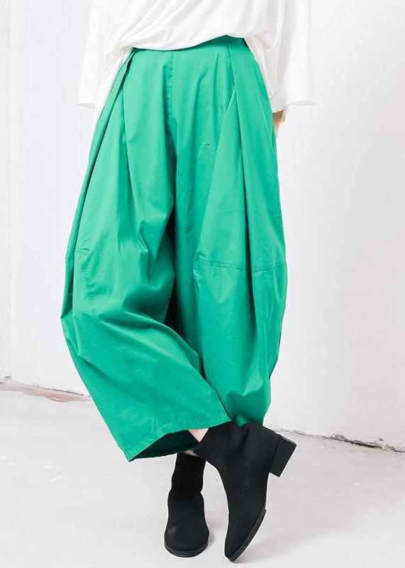 new green cotton pleated loose pants casual wild pants