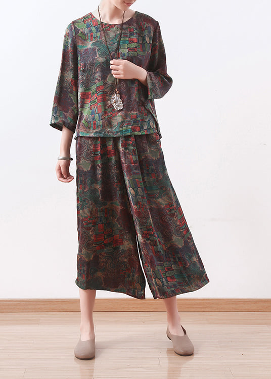 new green floral silk two pieces o neck casual tops with women loose wide leg pants