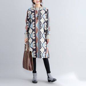 new khaki prints woolen sweater dresses oversize side open knit dress