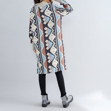 Load image into Gallery viewer, new khaki prints woolen sweater dresses oversize side open knit dress