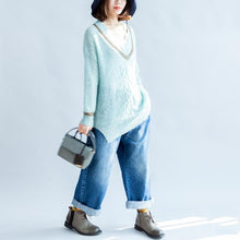 Load image into Gallery viewer, new light blue warm woolen sweater oversized casual v neck knit tops