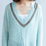 new light blue warm woolen sweater oversized casual v neck knit tops