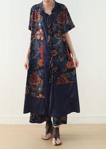 new loose blue retro print pattern v-neck silk cardigan and wide leg pants two-piece