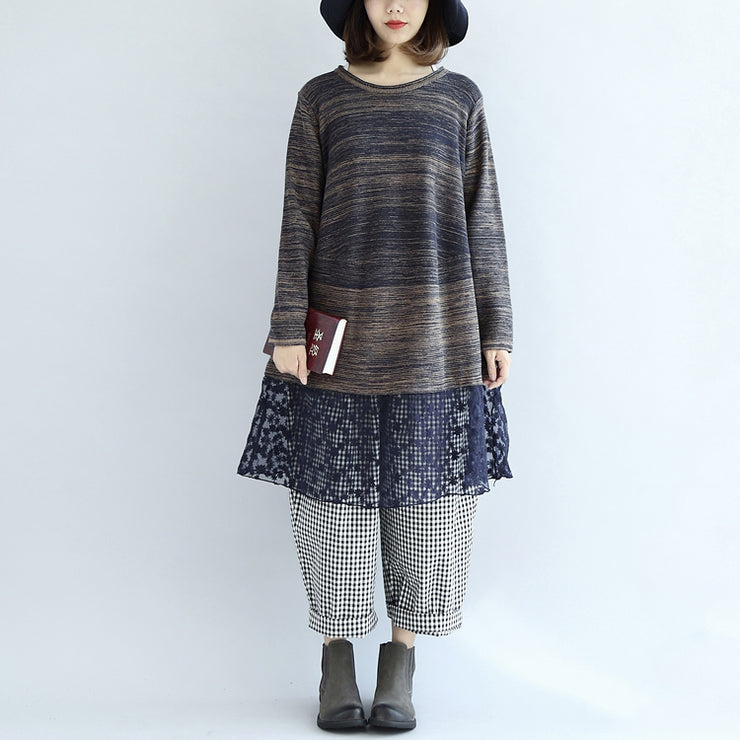 new multi blue cotton patchwork lace knit dresses plus size casual mid sweater dress