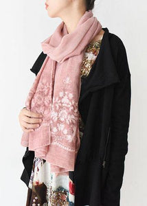 New Orange Pink Cute Rectangle Scarves Women Casual Warm Embroidery Scarf