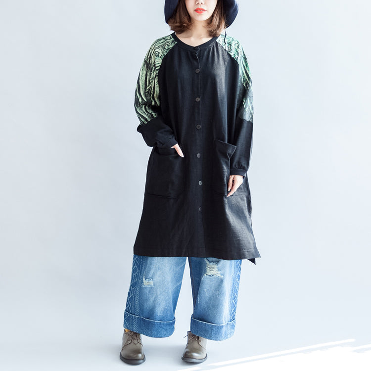 new oversize patchwork green prints cotton outwear pockets 2021 fall casual coats