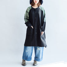 Load image into Gallery viewer, new oversize patchwork green prints cotton outwear pockets 2017 fall casual coats