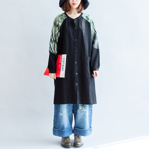 new oversize patchwork green prints cotton outwear pockets 2017 fall casual coats