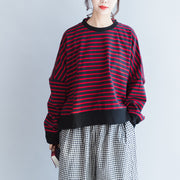 new red black striped cotton t shirt oversize batwing sleeve side open pullover