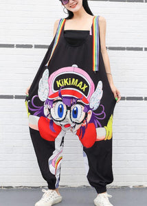 new summer black cartoon prints women casual jumpsuit harem pants