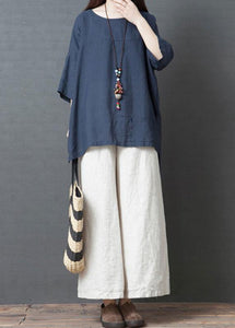 new summer navy o neck cotton tops and white wide leg pants