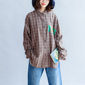 new unique khaki grid cotton tops plus size long sleeve  prints shirts
