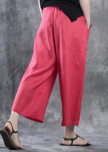 new white red linen women casual crop pants