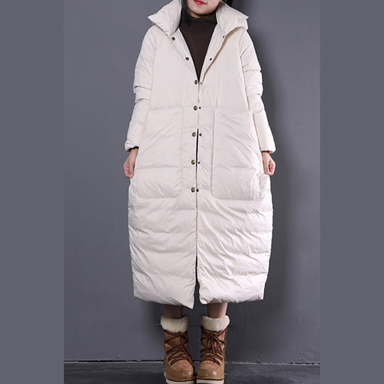new white winter oversize hooded down coat top quality Large pockets trench down coat