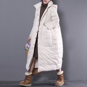 new white winter oversize hooded down coat fine Large pockets trench down coat