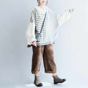 new winter striped patchwork woolen sweater hooded plus size casual long sleeve knit tops