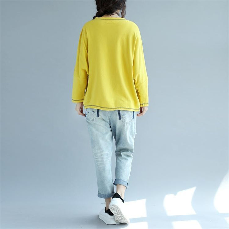 new yellow casual pullover chunky oversize bawing sleeve t shirt