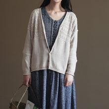 Load image into Gallery viewer, nude vintage cotton sweater coats loose casual long sleeve cardigans outwear