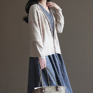 nude vintage cotton sweater coats loose casual long sleeve cardigans outwear