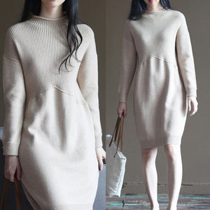 nude winter casual the rabbit wool blended knit dresses loose vintage patchwork sweater dress