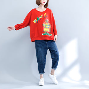 orange casual cotton tops loose prints long sleeve t shirt