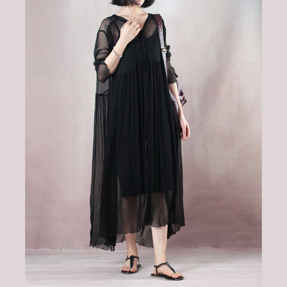 original designed black summer dress V neck long sleeve length dress baggy dresses summer dress