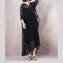 Load image into Gallery viewer, original designed black summer dress V neck long sleeve length dress baggy dresses summer dress