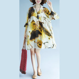 original designed chiffon print summer dress v neck half sleeve gown patchwork baggy dresses