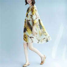 Load image into Gallery viewer, original designed chiffon print summer dress v neck half sleeve gown patchwork baggy dresses