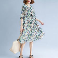 Load image into Gallery viewer, original designed print holiday dress o neck short sleeve bridesmaid dress baggy dresses maxi dresses