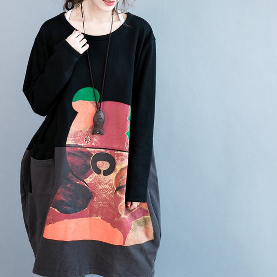 oversize autumn winter prints cotton dresses black gray patchwork thick maternity dress