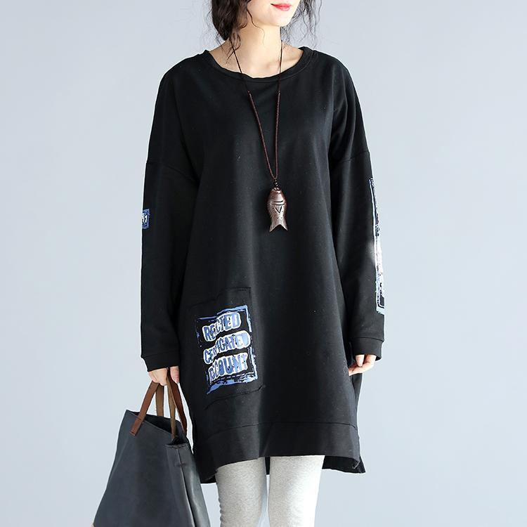 oversize casual autumn black cotton dresses loose prints long sleeve dress